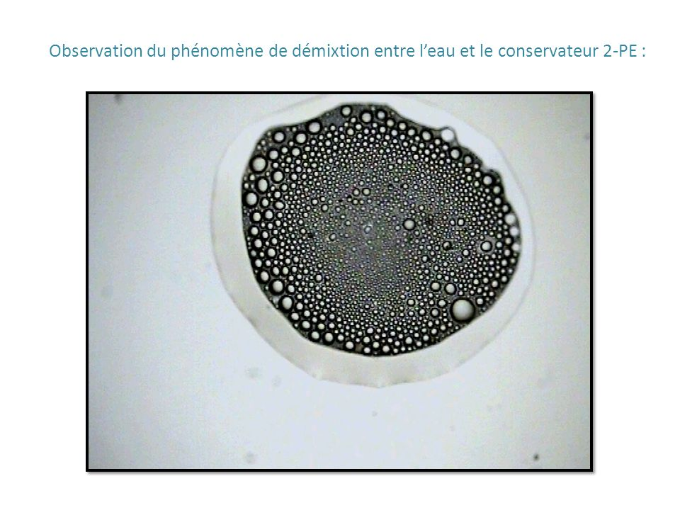 Observation du phénomène de démixtion entre l'eau et le conservateur 2-PE :
