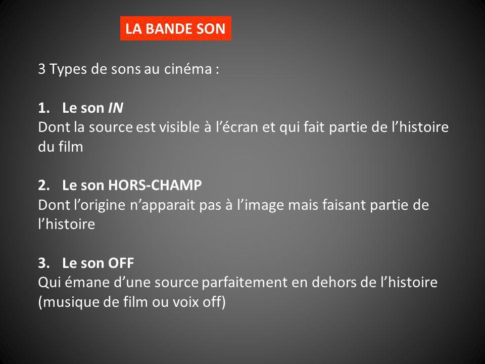LA BANDE SON 3 Types de sons au cinéma : Le son IN. Dont la source est visible à l'écran et qui fait partie de l'histoire du film.