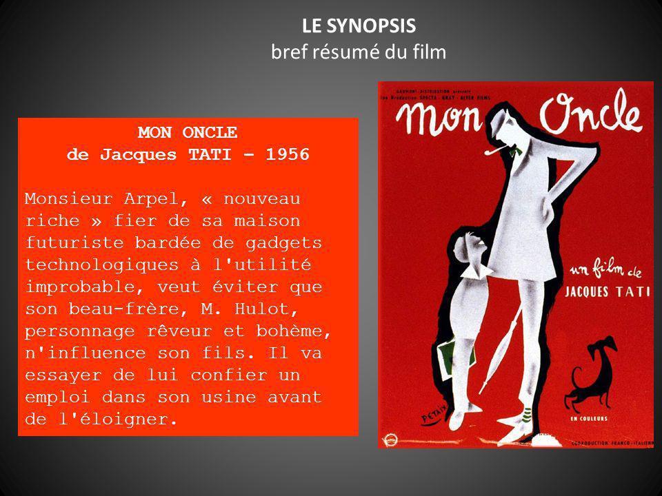LE SYNOPSIS bref résumé du film MON ONCLE de Jacques TATI – 1956