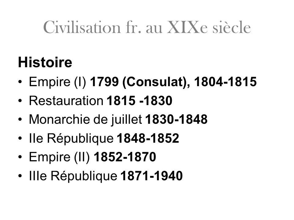 Civilisation fr. au XIXe siècle