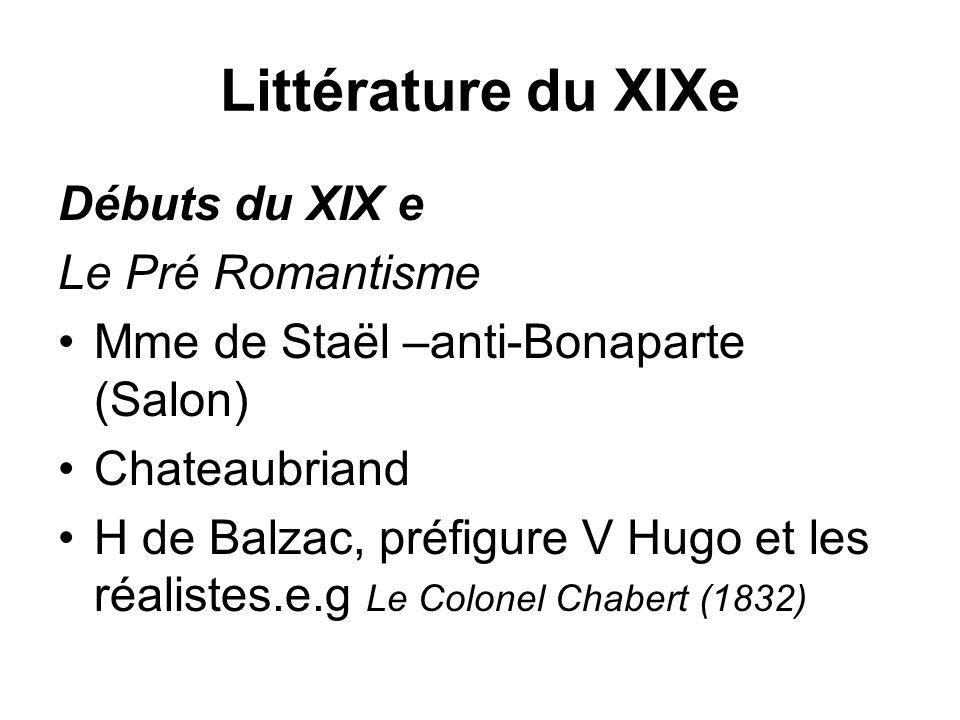 Littérature du XIXe Débuts du XIX e Le Pré Romantisme