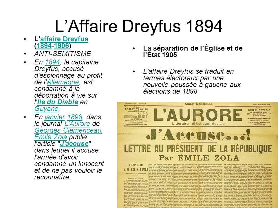 L'Affaire Dreyfus 1894 L affaire Dreyfus ( ) ANTI-SEMITISME