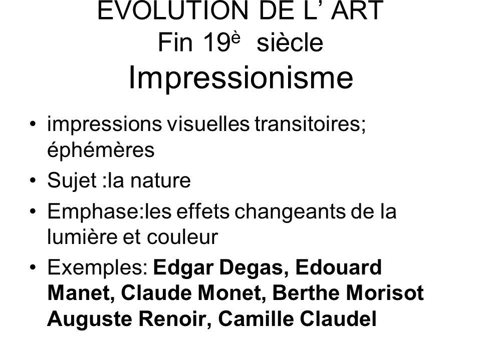 EVOLUTION DE L' ART Fin 19è siècle Impressionisme