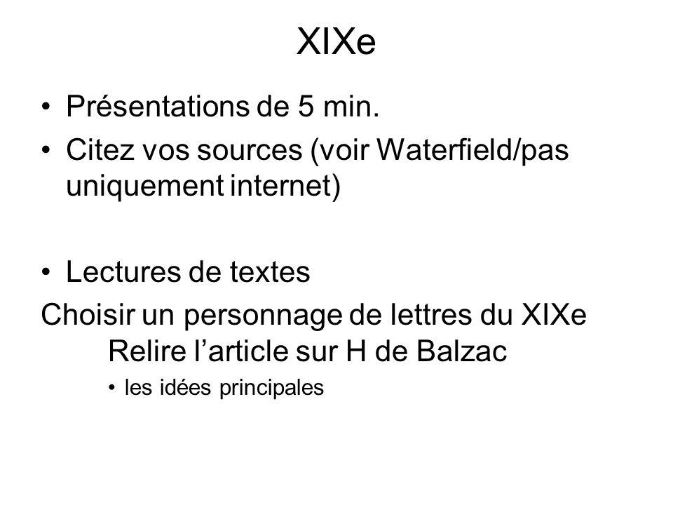 XIXe Présentations de 5 min.