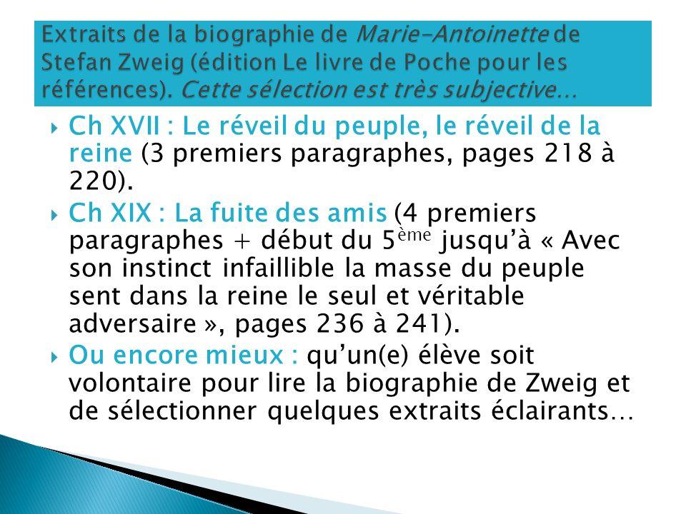 Extraits de la biographie de Marie-Antoinette de Stefan Zweig (édition Le livre de Poche pour les références). Cette sélection est très subjective…