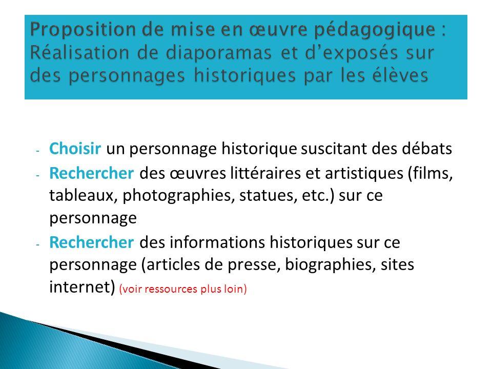Proposition de mise en œuvre pédagogique : Réalisation de diaporamas et d'exposés sur des personnages historiques par les élèves