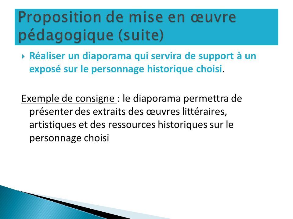 Proposition de mise en œuvre pédagogique (suite)