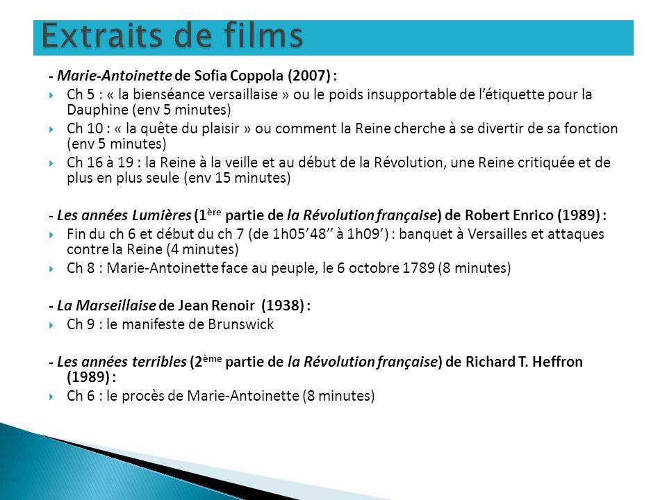 Extraits de films - Marie-Antoinette de Sofia Coppola (2007) :
