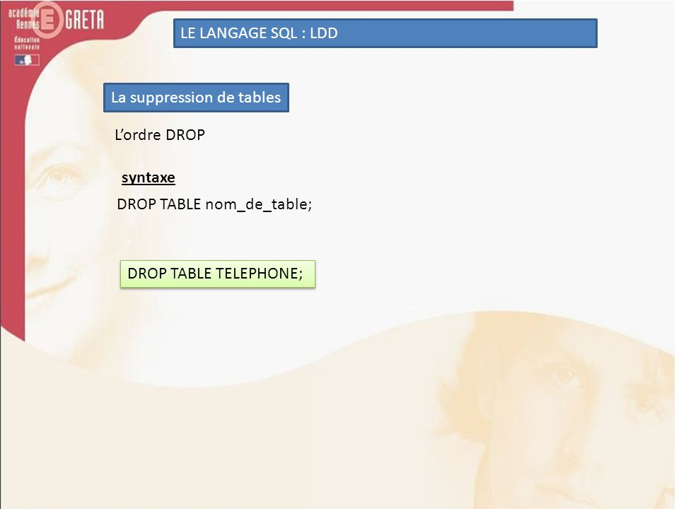 LE LANGAGE SQL : LDD La suppression de tables. L'ordre DROP.