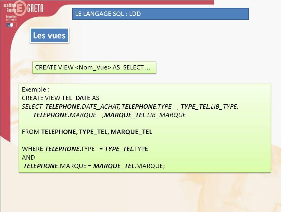 Les vues LE LANGAGE SQL : LDD