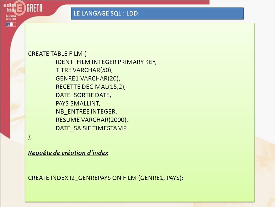 LE LANGAGE SQL : LDD CREATE TABLE FILM ( IDENT_FILM INTEGER PRIMARY KEY, TITRE VARCHAR(50), GENRE1 VARCHAR(20),