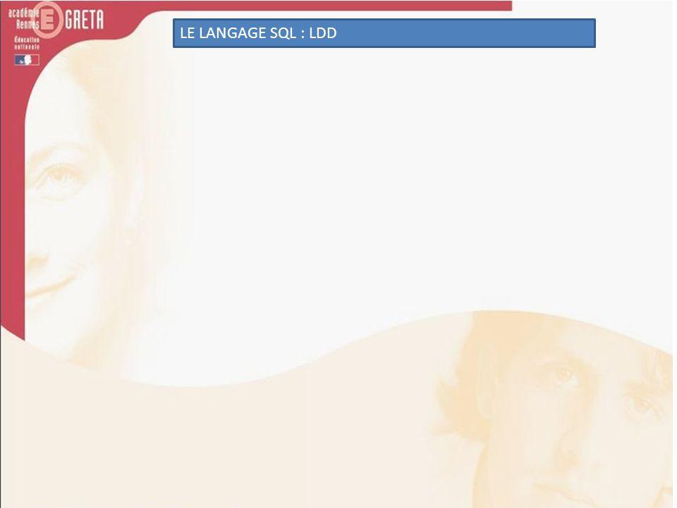 LE LANGAGE SQL : LDD