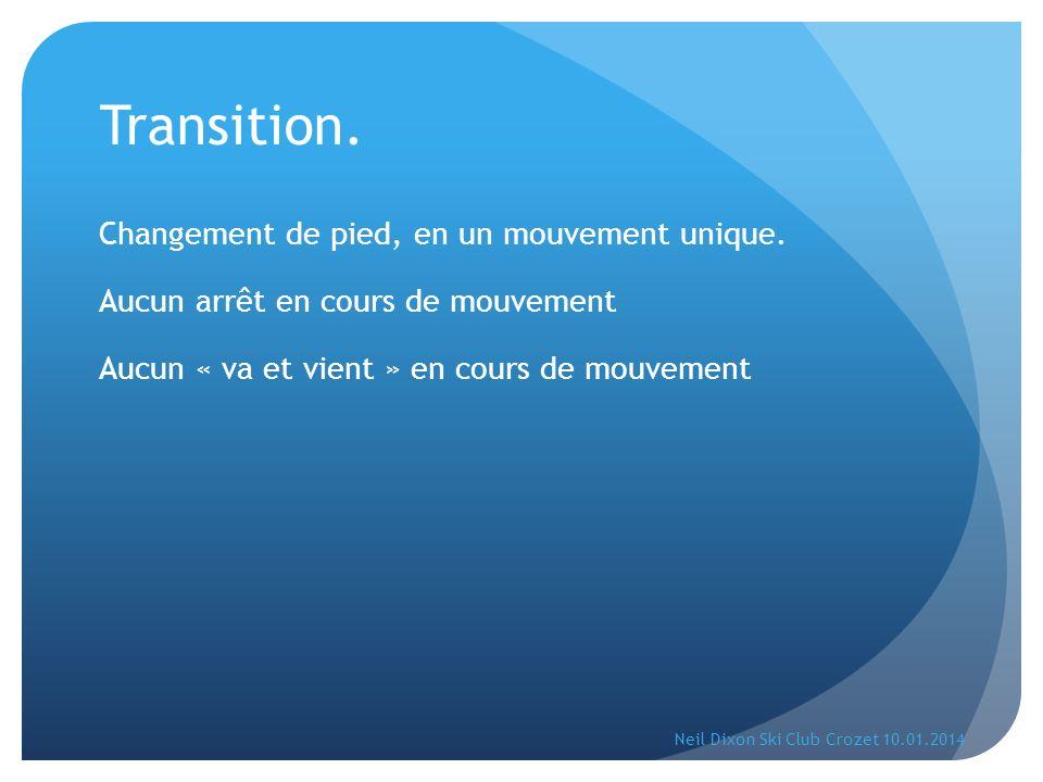 Transition. Changement de pied, en un mouvement unique.