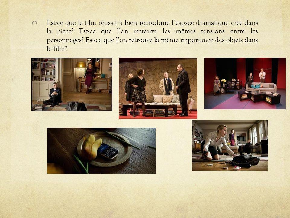 Est-ce que le film réussit à bien reproduire l'espace dramatique créé dans la pièce.