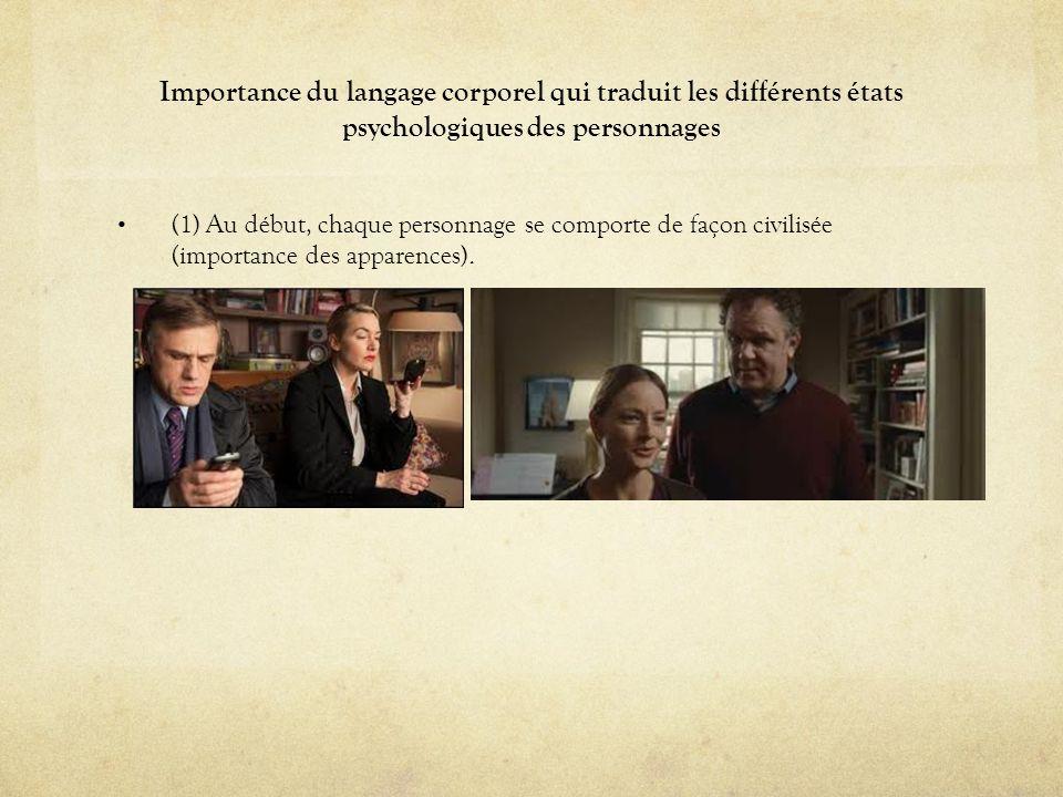 Importance du langage corporel qui traduit les différents états psychologiques des personnages