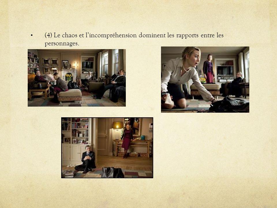 (4) Le chaos et l'incompréhension dominent les rapports entre les personnages.