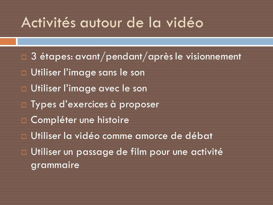 Activités autour de la vidéo
