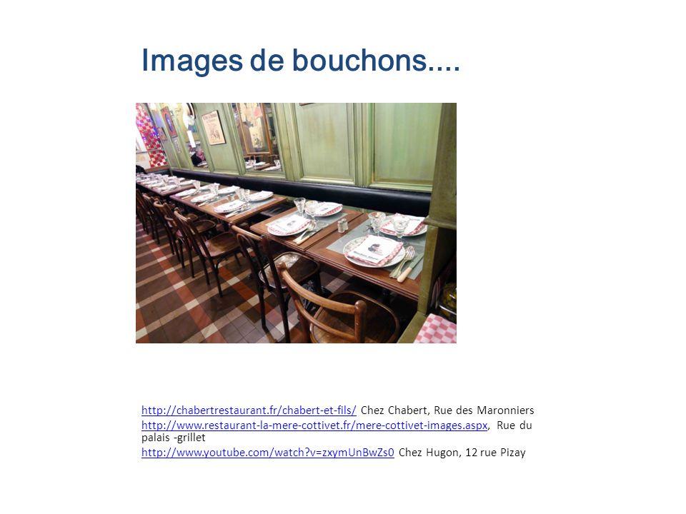 Images de bouchons.... http://chabertrestaurant.fr/chabert-et-fils/ Chez Chabert, Rue des Maronniers.