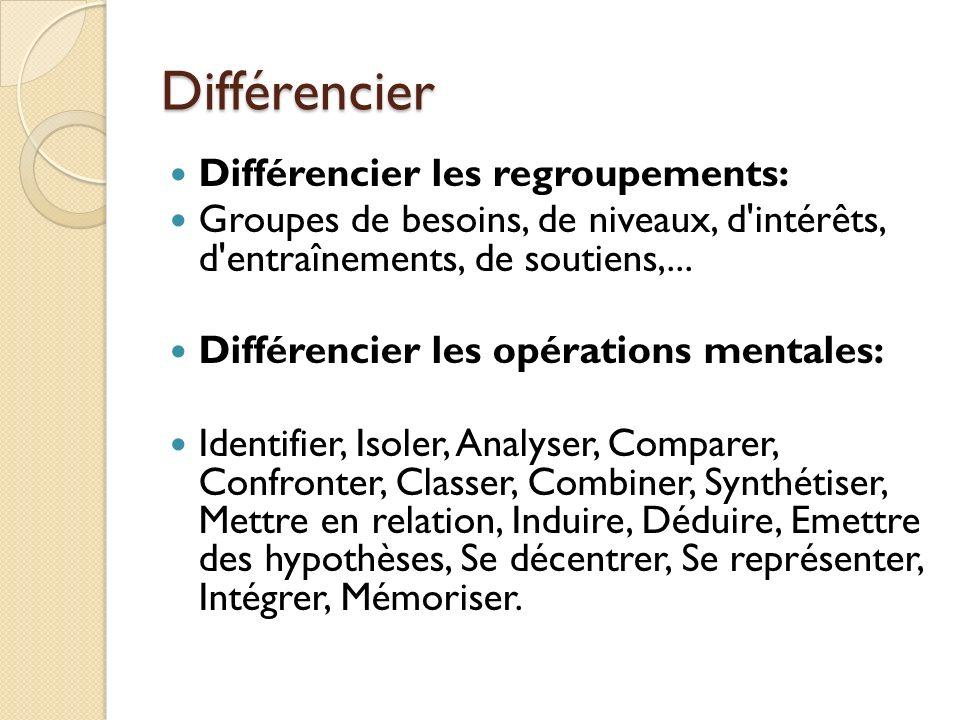 Différencier Différencier les regroupements: