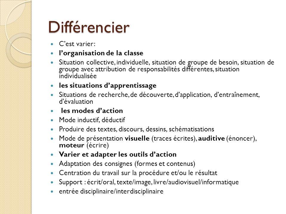 Différencier C'est varier: l'organisation de la classe