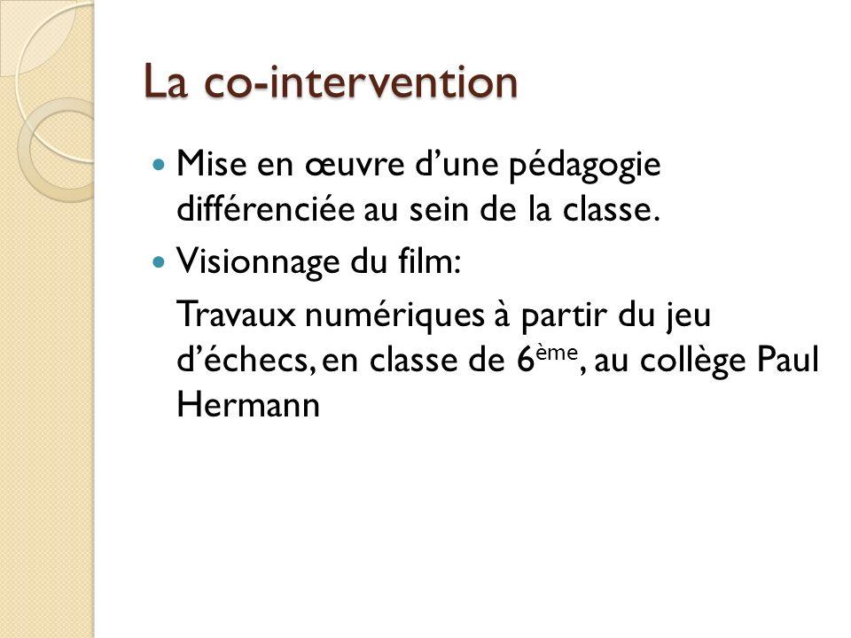 La co-intervention Mise en œuvre d'une pédagogie différenciée au sein de la classe. Visionnage du film:
