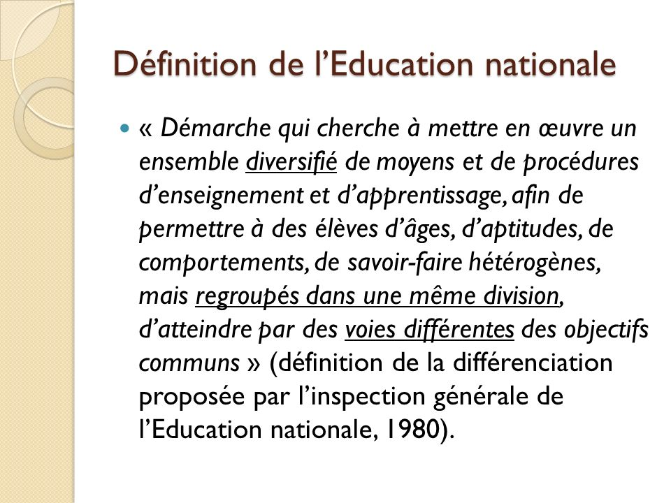 Définition de l'Education nationale