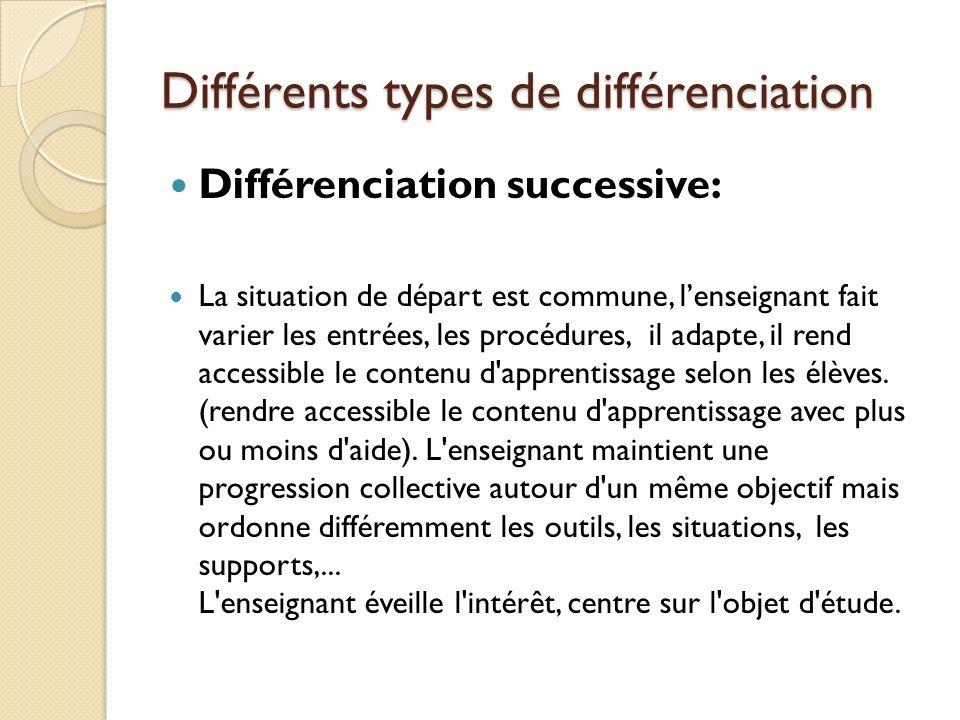 Différents types de différenciation