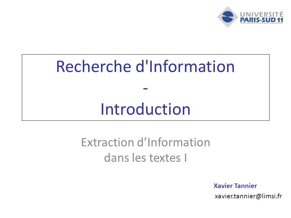 Recherche d Information - Introduction
