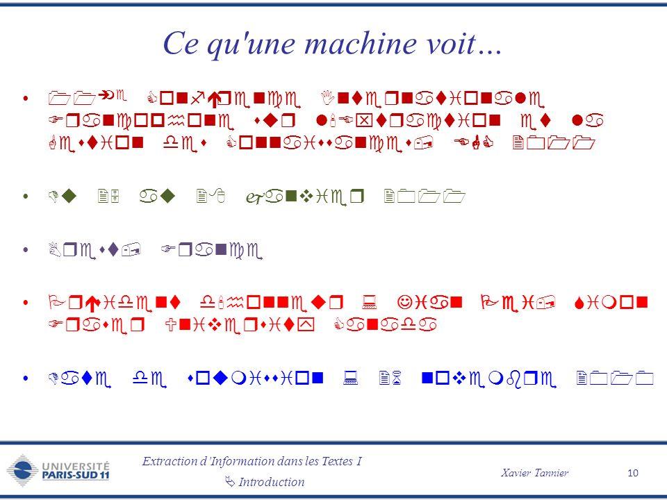 Ce qu une machine voit… 11ème Conférence Internationale Francophone sur l Extraction et la Gestion des Connaissances, EGC 2011.