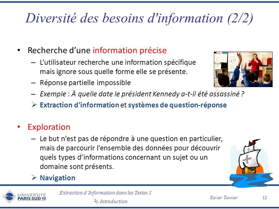 Diversité des besoins d information (2/2)