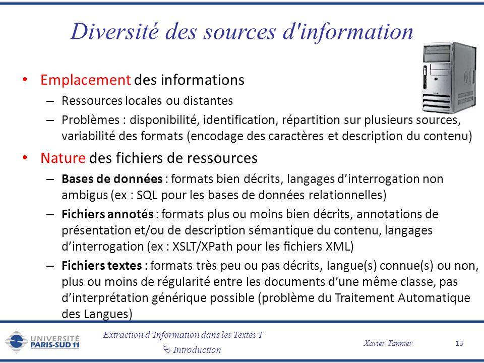 Diversité des sources d information