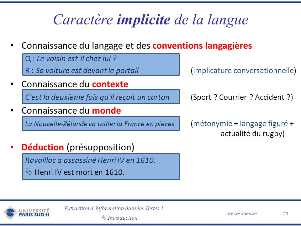 Caractère implicite de la langue