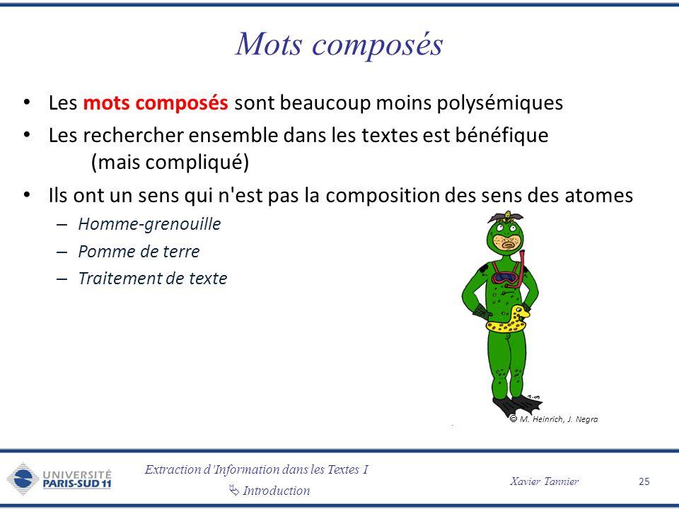 Mots composés Les mots composés sont beaucoup moins polysémiques