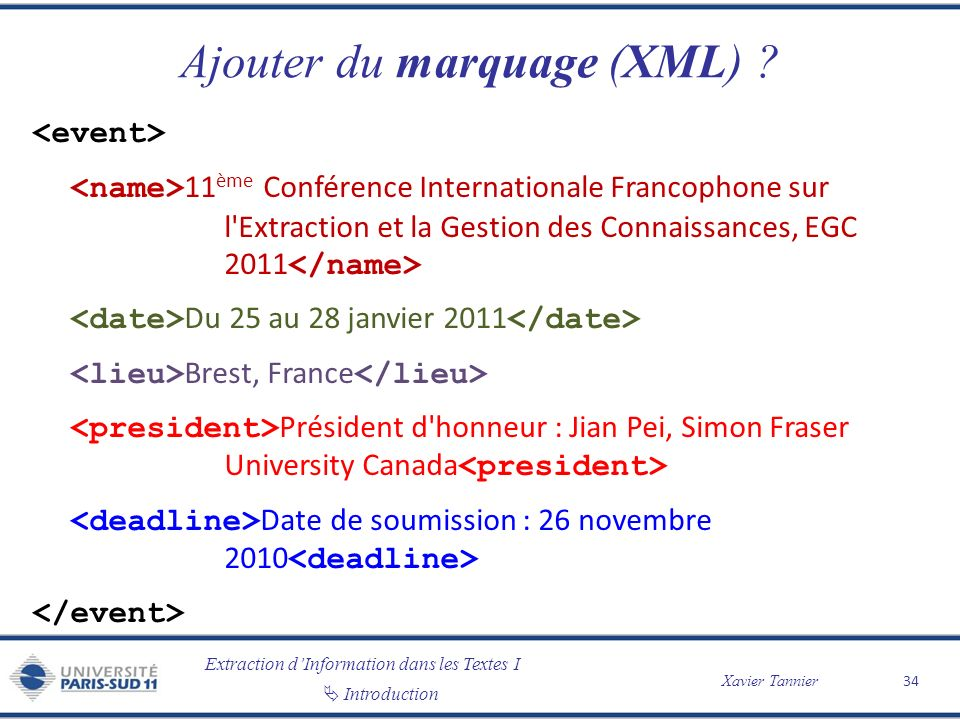 Ajouter du marquage (XML)