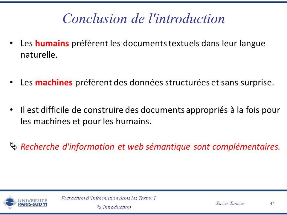 Conclusion de l introduction