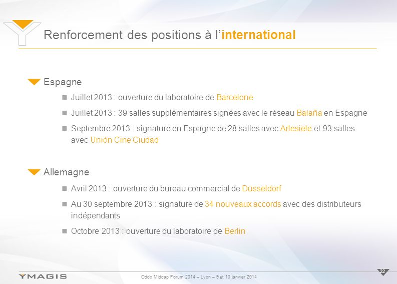 Renforcement des positions à l'international