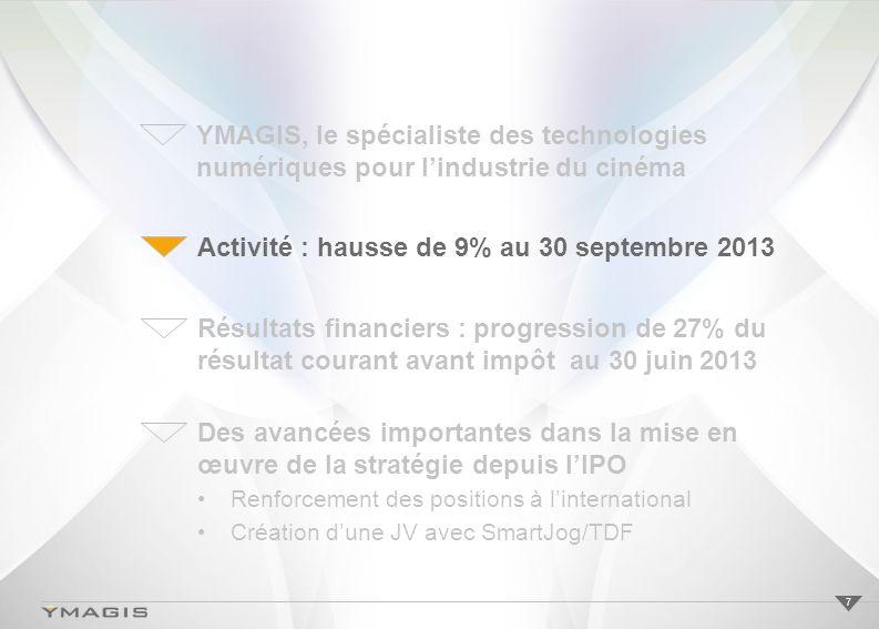 Activité : hausse de 9% au 30 septembre 2013