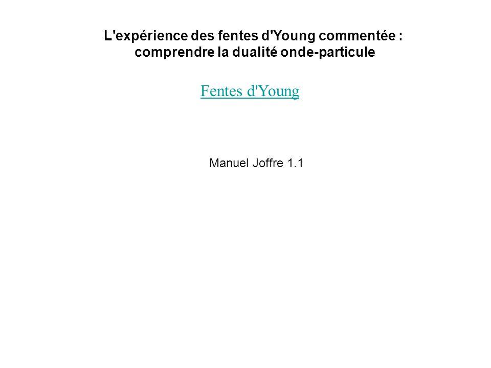 Fentes d Young L expérience des fentes d Young commentée :