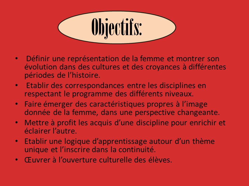 Objectifs: Définir une représentation de la femme et montrer son évolution dans des cultures et des croyances à différentes périodes de l'histoire.