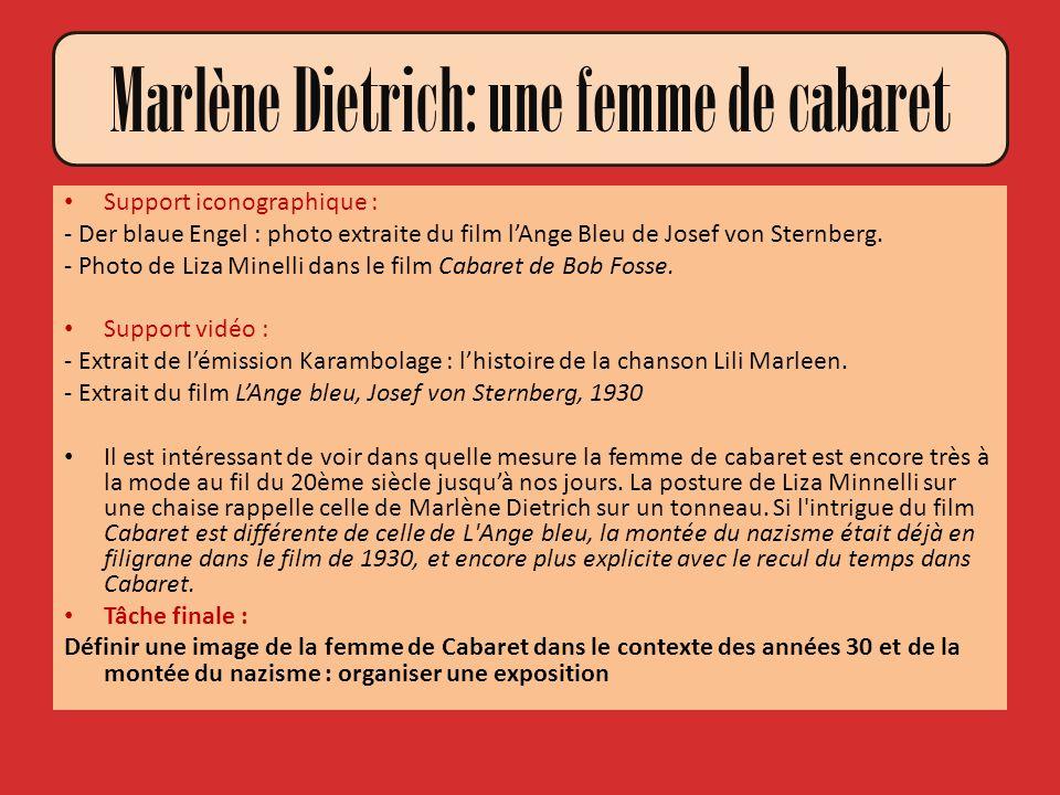 Marlène Dietrich: une femme de cabaret