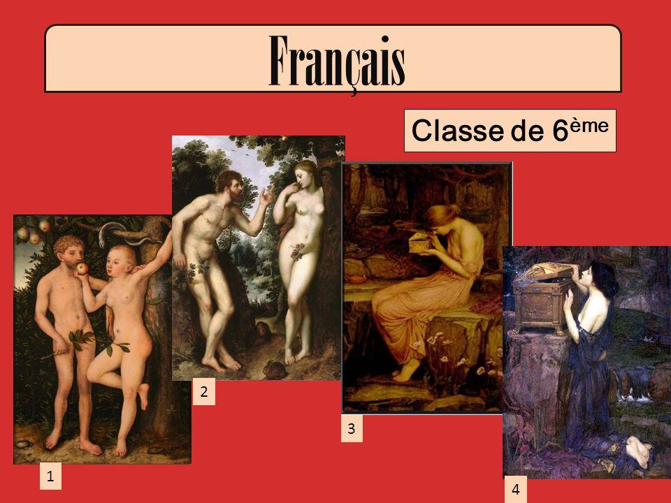 Français Classe de 6ème 2 3 1 4 2: PETER PAUL RUBENS Adam et Eve