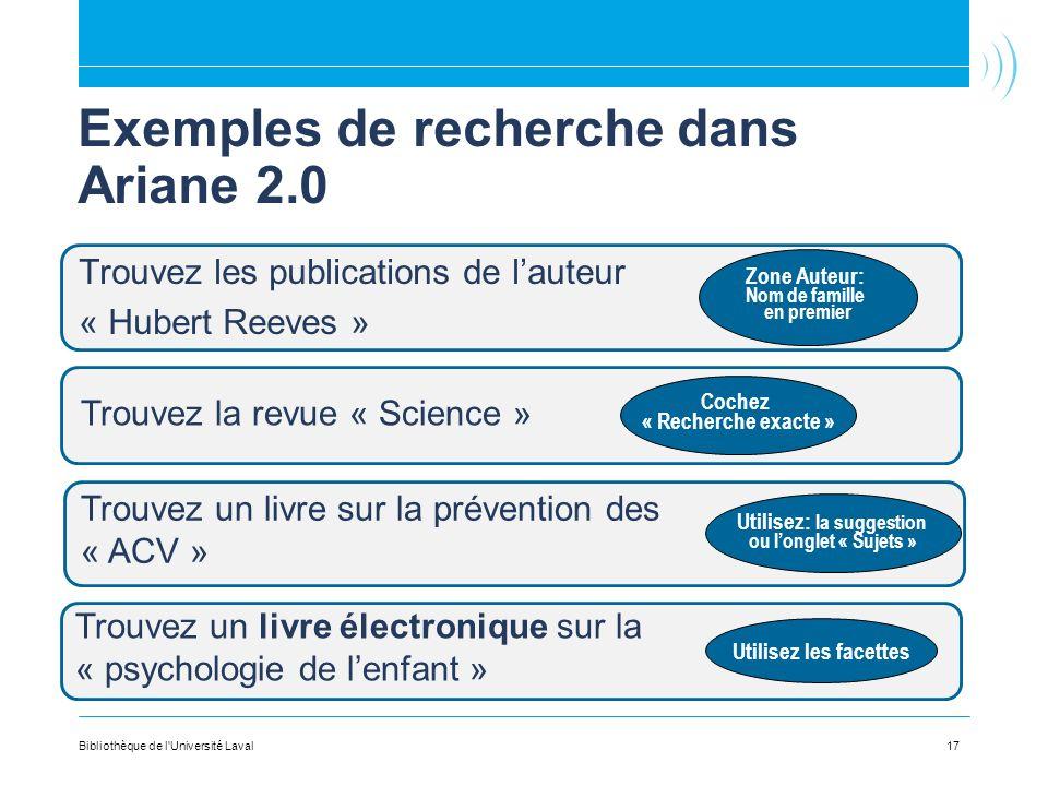 Exemples de recherche dans Ariane 2.0
