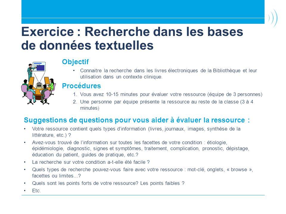 Exercice : Recherche dans les bases de données textuelles