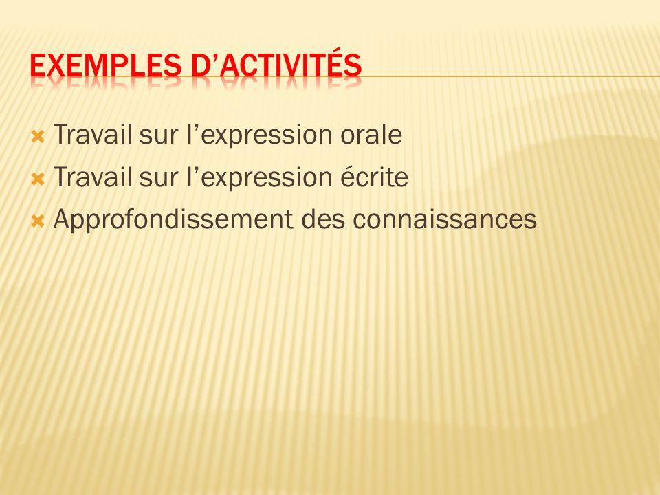 Exemples d'activités Travail sur l'expression orale