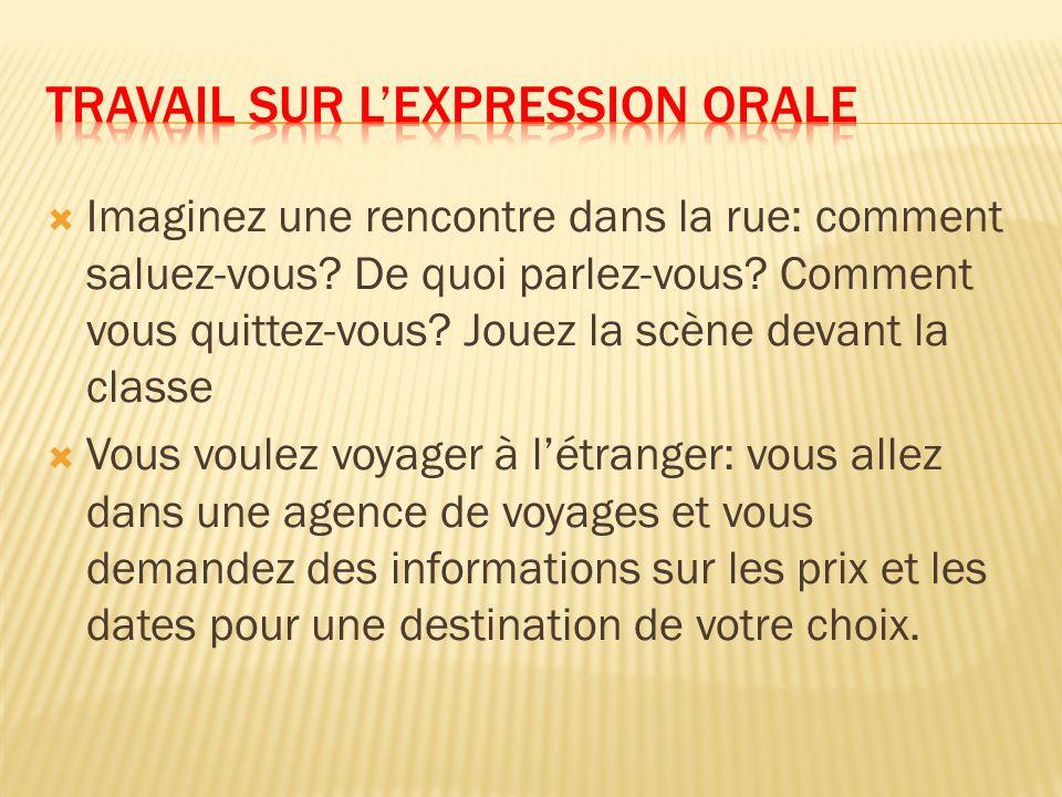 Travail sur l'expression orale