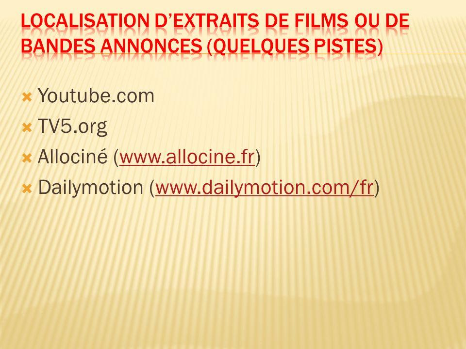 Localisation d'extraits de films ou de bandes annonces (quelques pistes)