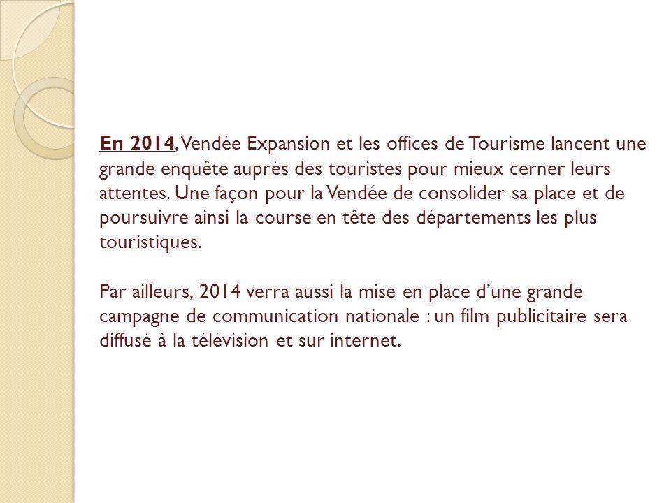 En 2014, Vendée Expansion et les offices de Tourisme lancent une grande enquête auprès des touristes pour mieux cerner leurs attentes. Une façon pour la Vendée de consolider sa place et de poursuivre ainsi la course en tête des départements les plus touristiques.