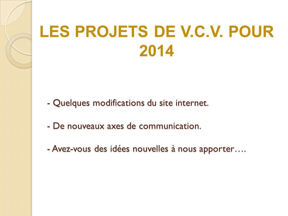 LES PROJETS DE V.C.V. POUR 2014