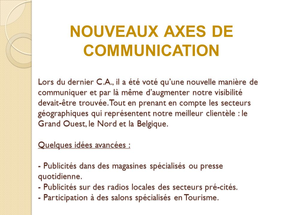 NOUVEAUX AXES DE COMMUNICATION
