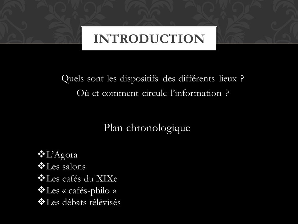 introduction Plan chronologique